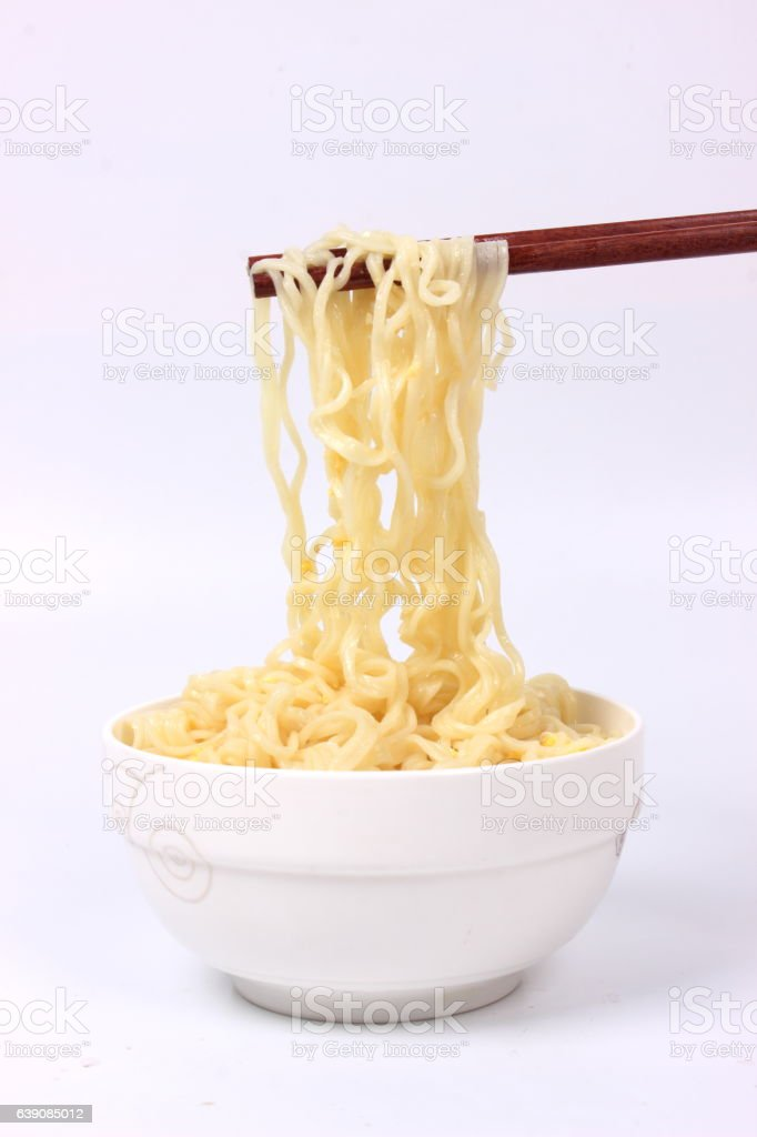 Cooked noodles stock photo