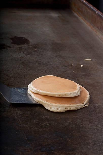 Cooked pancakes on a spatula stok fotoğrafı