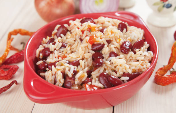 Cooked rice and beans stock photo