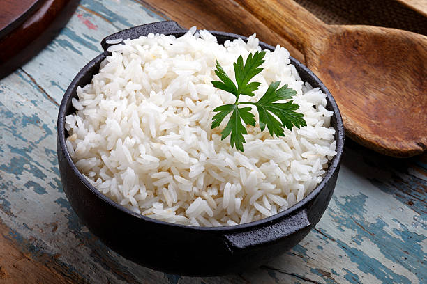 cooked rice - gestoomd stockfoto's en -beelden