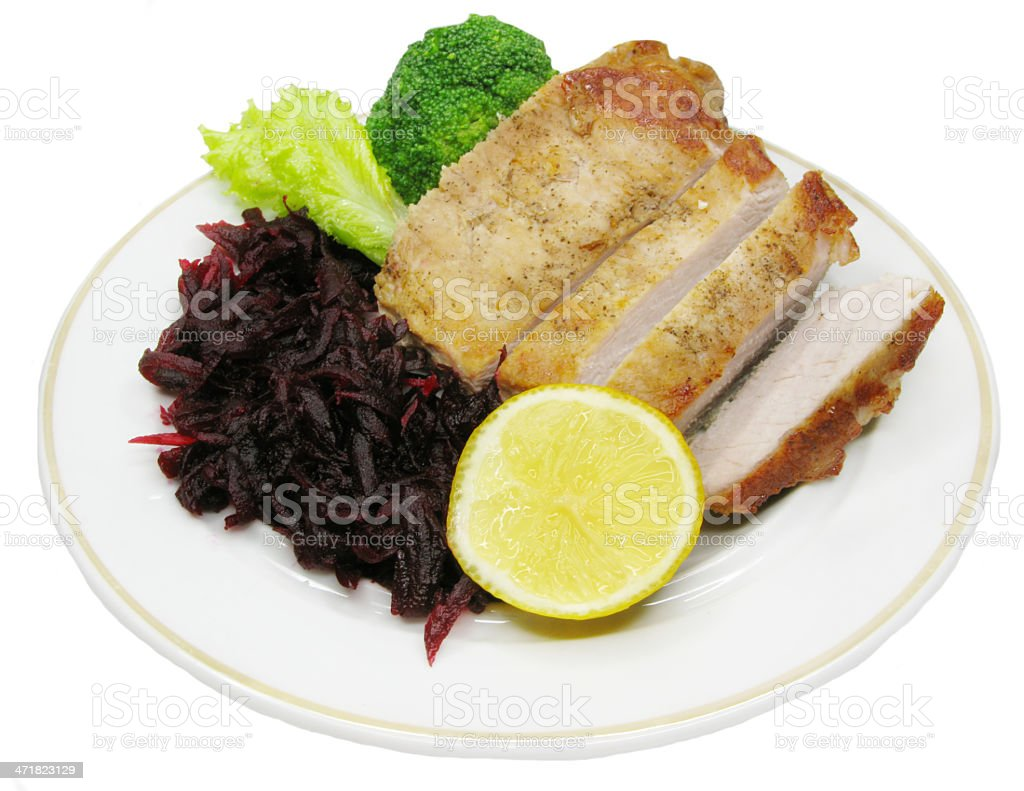 cooked roast meat with vegetables royalty-free stock photo