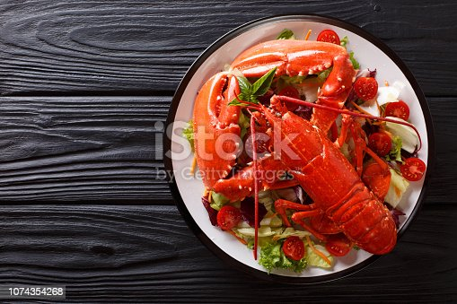 istock Cooked sea lobster with fresh vegetable salad on a plate close-up. Horizontal top view 1074354268