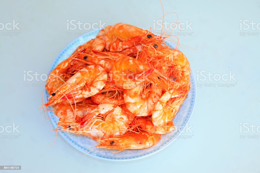 Cooked shrimp in the dish, closeup of photo royalty-free stock photo