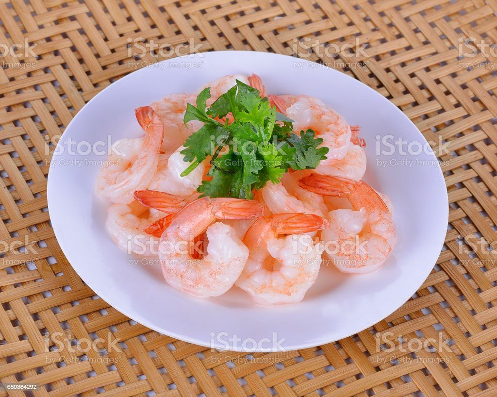 Cooked shrimps plate royalty-free stock photo