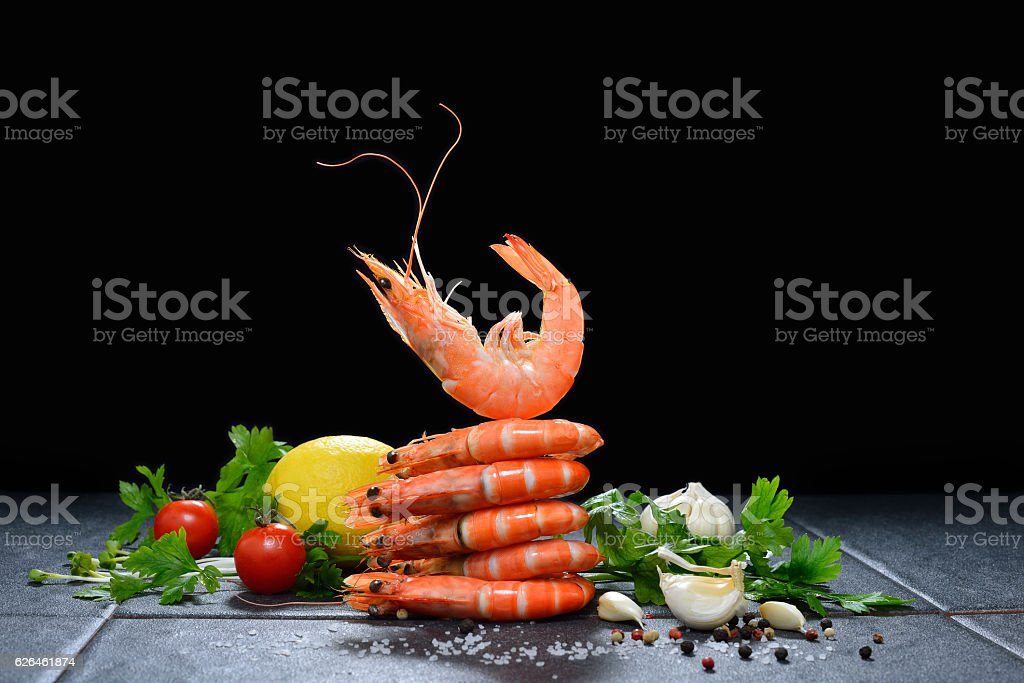 Cooked shrimps,prawns stock photo
