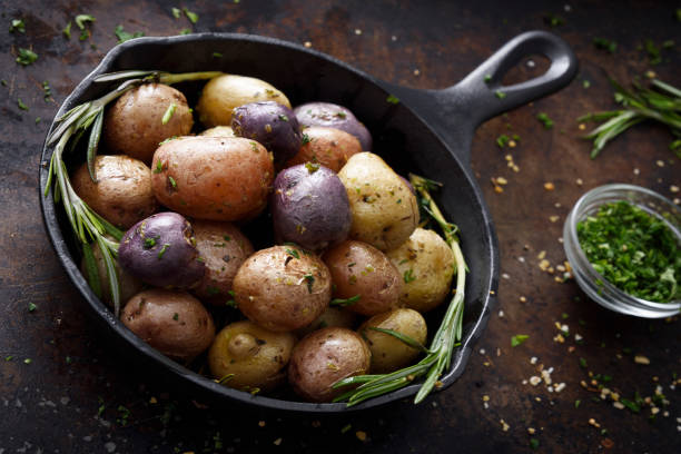 Cooked small potatoes stock photo