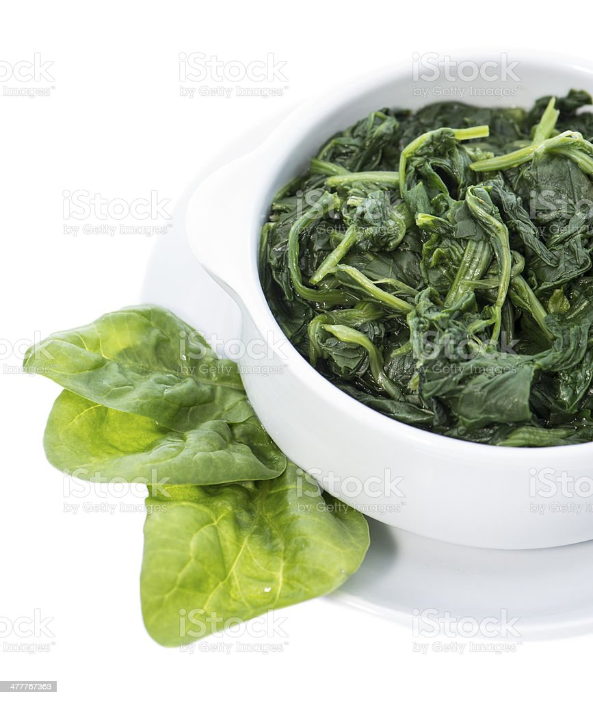 Cooked Spinach isolated on white royalty-free stock photo