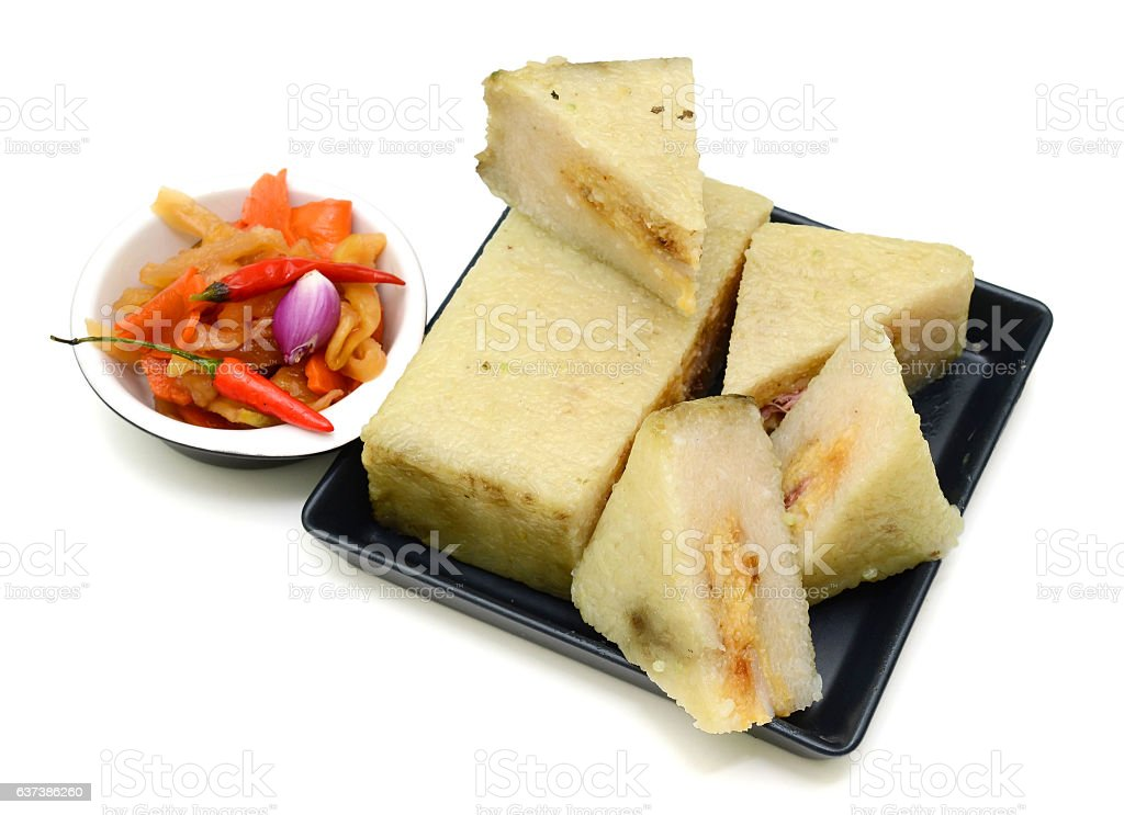 Cooked square glutinous rice cake, Vietnamese new year food stock photo