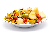 Cooked Stew Vegetables Dish Isolated on White