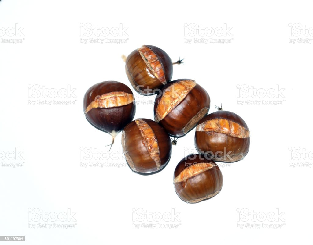 Cooked sweet chestnuts on a white background royalty-free stock photo