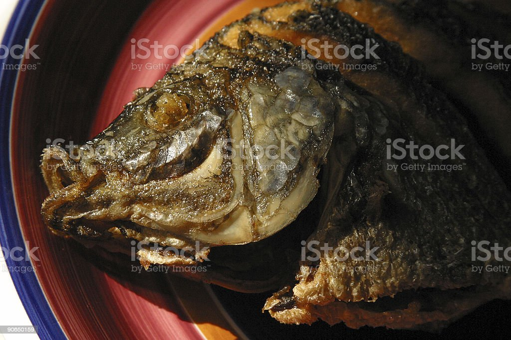 Cooked Tilapia Fish Head royalty-free stock photo