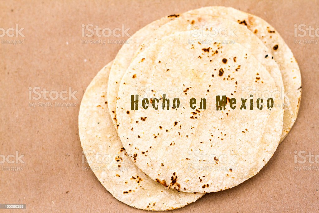 Cooked Tortillas on Butcher Paper (Close Up) stock photo