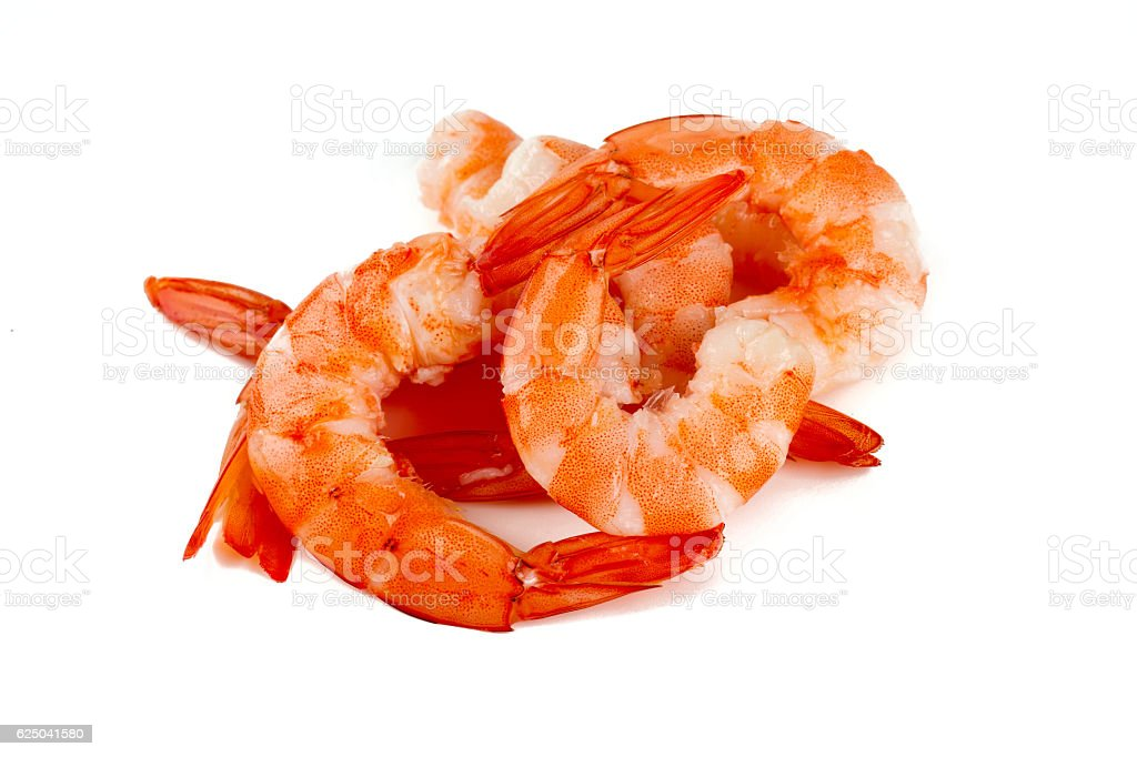 cooked unshelled tiger shrimps isolated on white stock photo