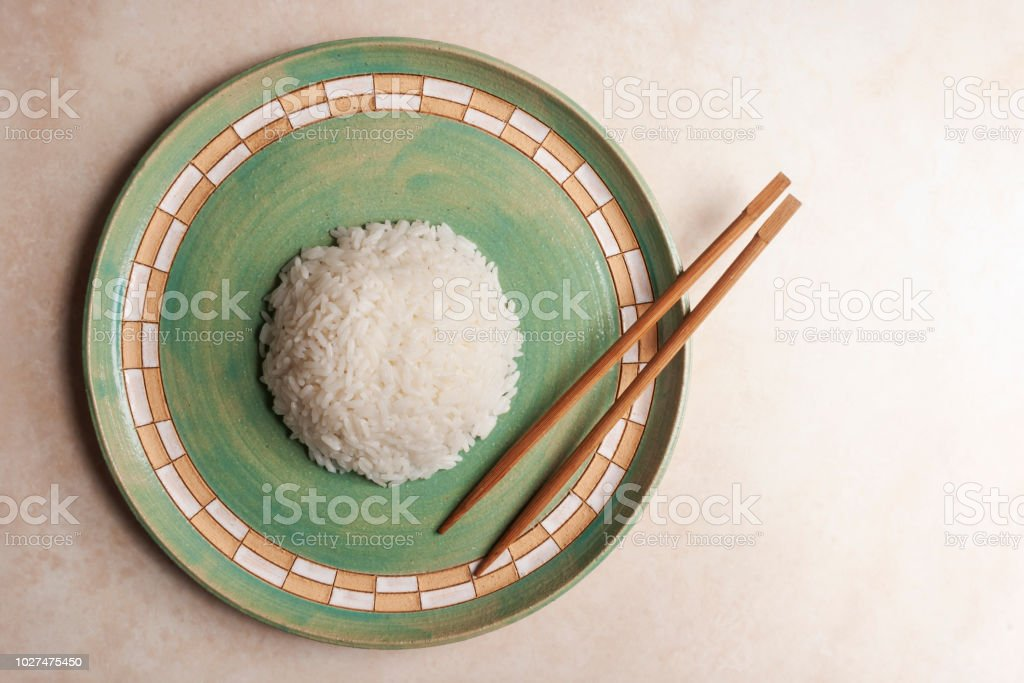 Cooked white rice stock photo