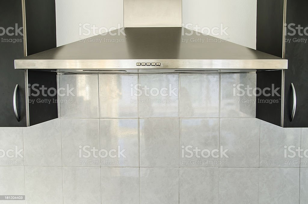 Cooker hood in kitchen room stock photo