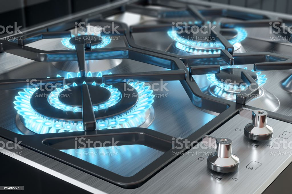 Cooker with burners close-up. stock photo