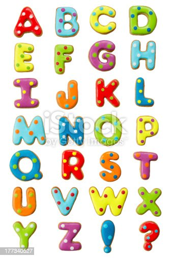 Cookie alphabet isolated on white