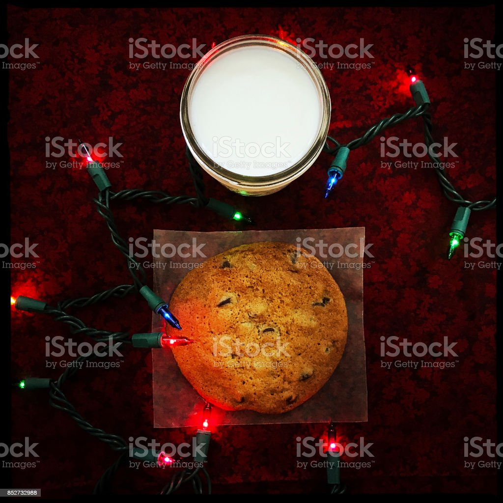 Cookie and Milk Christmas stock photo