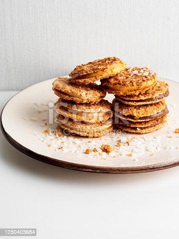 Cookie, dessert,Food, Valentine's Day - Holiday,  Shortbread, Sandwich Cookie, Cream - Dairy Product, Biscuit, Chocolate, Stack, White Background, coconut cream, hazelnut cream