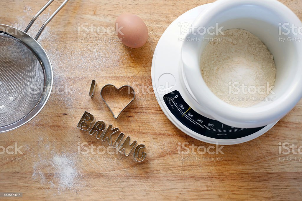 Cookie cutter - I love baking stock photo