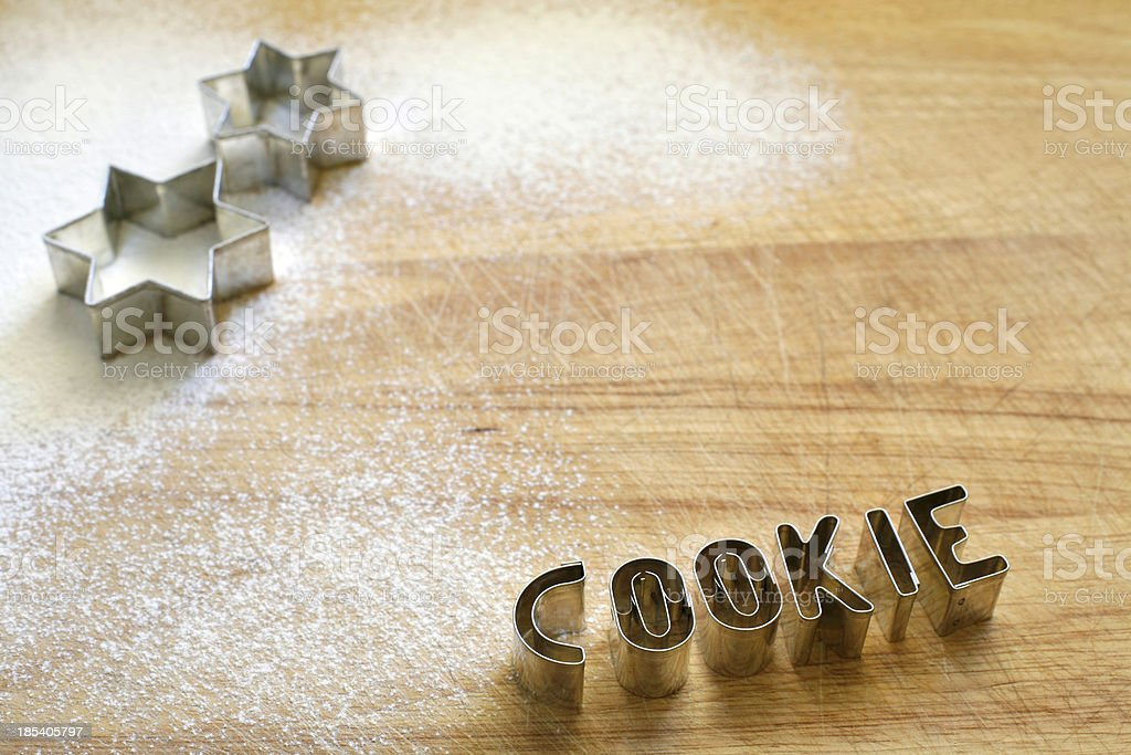 Cookie cutter_two stars and letters royalty-free stock photo