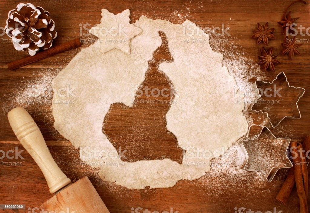 Cookie dough cut as the shape of Cameroon (series) stock photo