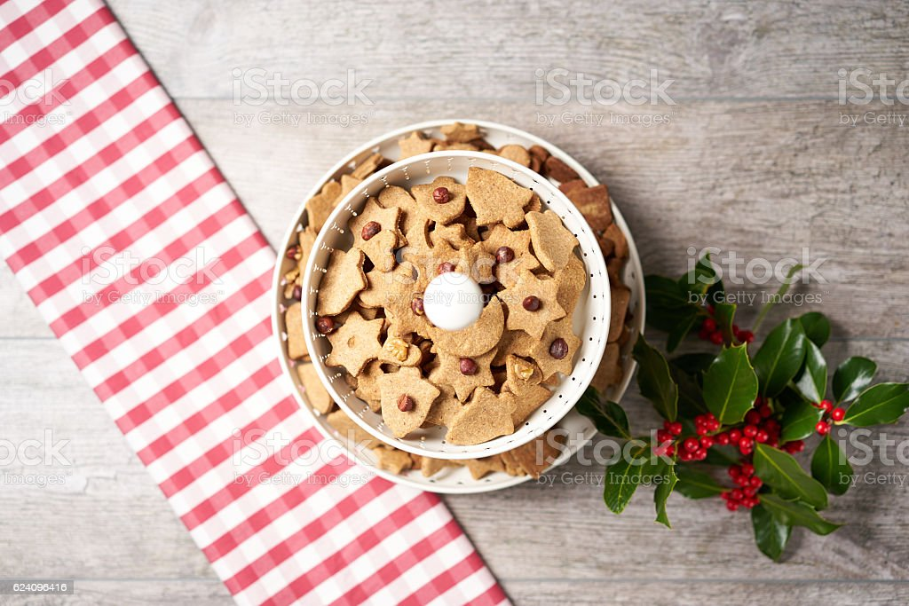 Cookie Etagere from above with Winter Decoration on a Table stock photo