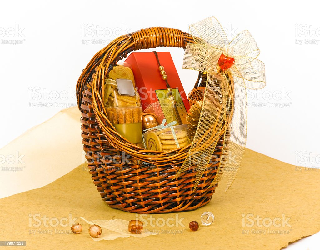 Cookie hamper gift basket for giving stock photo