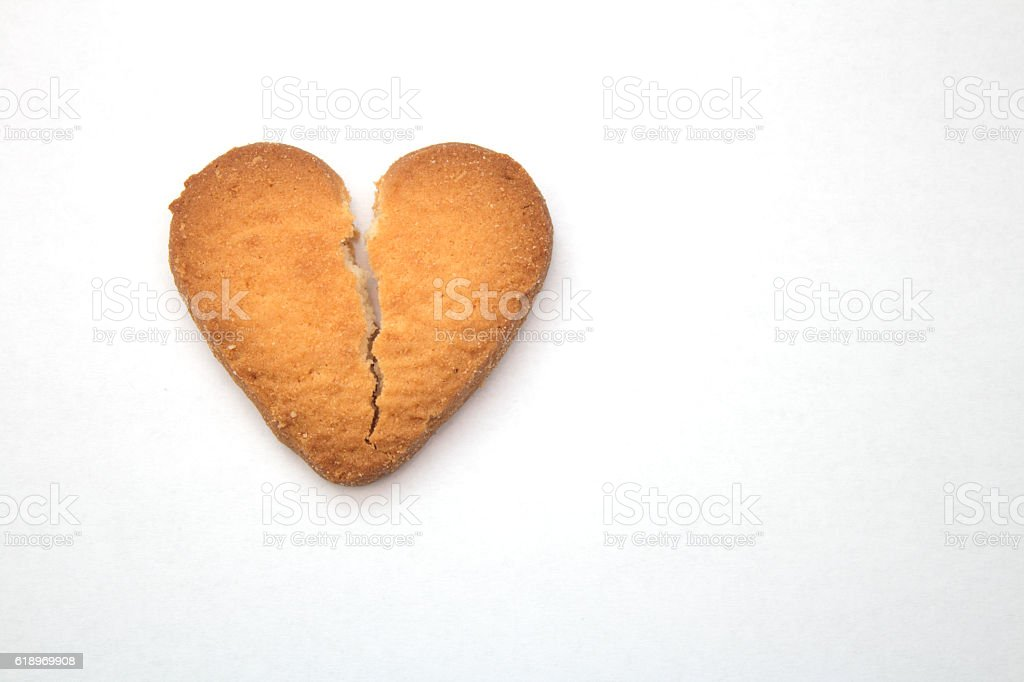Cookie in the form of broken hearts, symbol of love stock photo