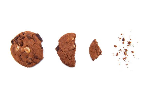 cookie isolated on the white background - briciola foto e immagini stock