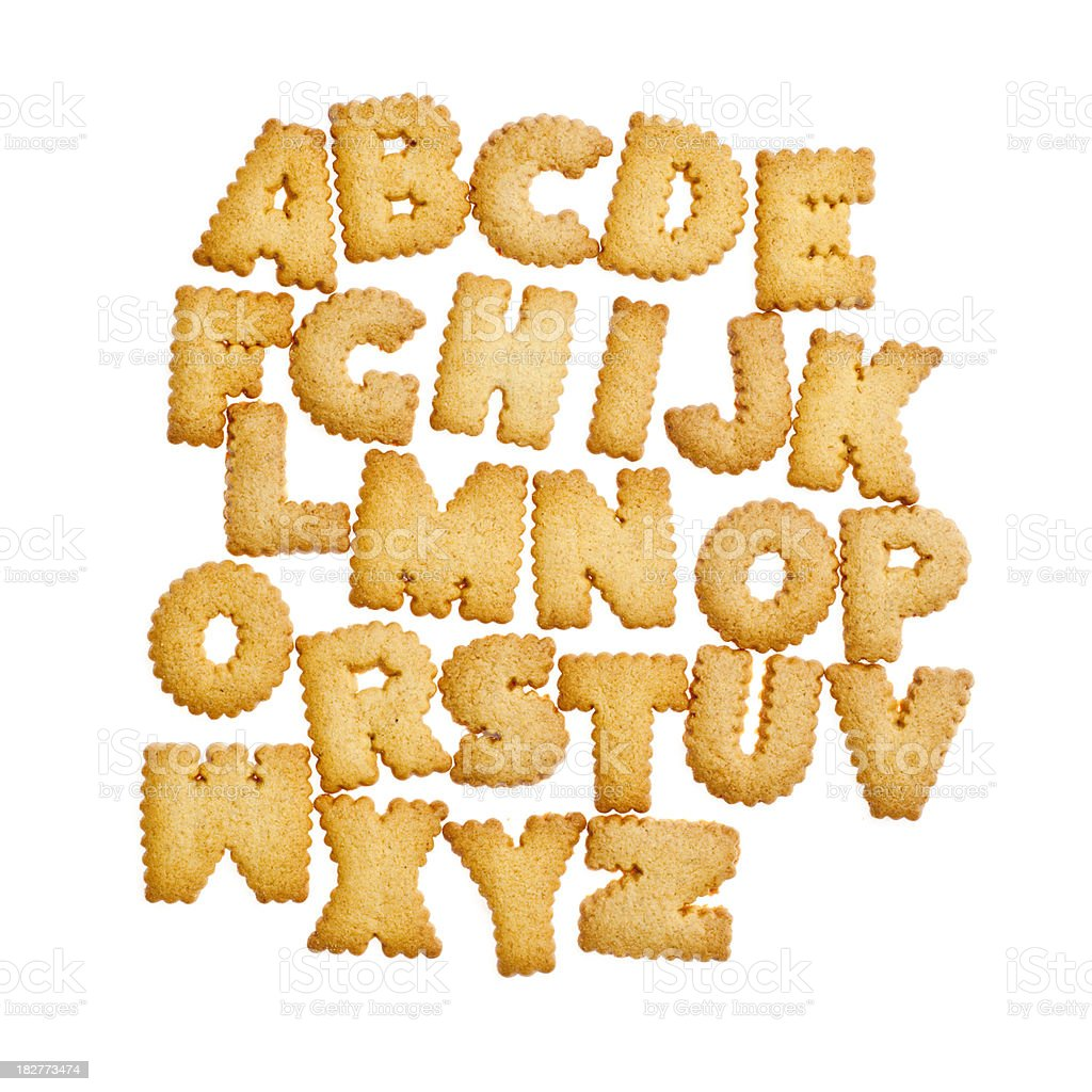 Cookie letter alphabet isolated on white stock photo