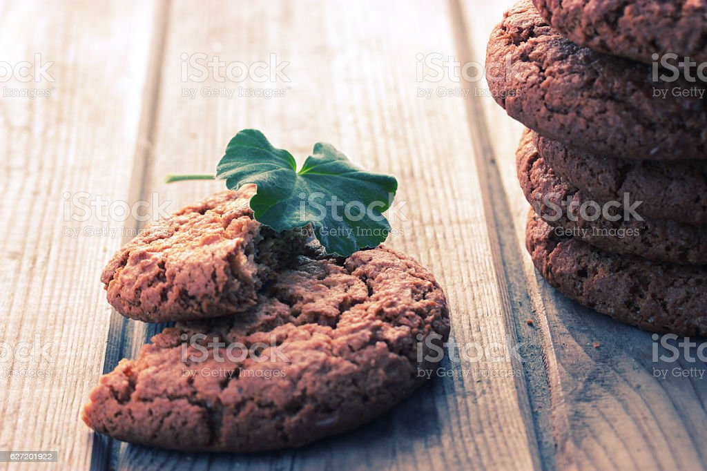 cookie mint on wooden background stock photo