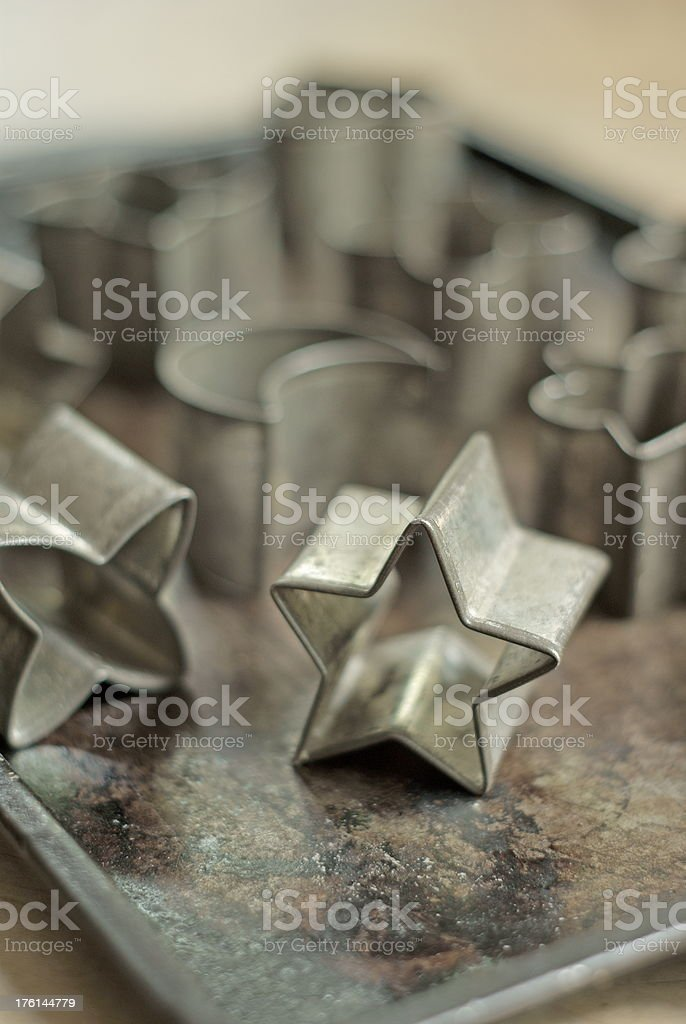 Cookie Sheet with Cutters royalty-free stock photo