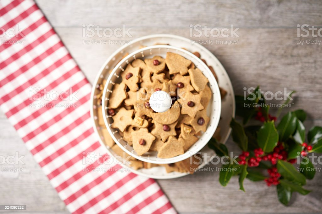 Cookie Stand with Christmas Decoration from Above stock photo