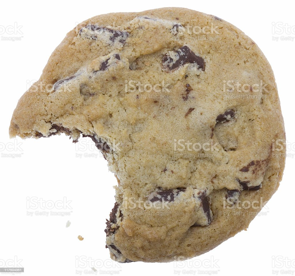 Cookie with missing bite and crumbs (clipping path) stock photo