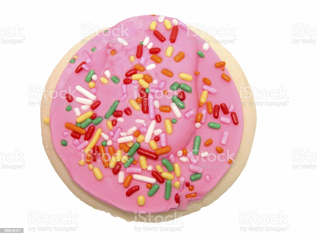 Cookie with Pink Icing and Sprinkles stock photo