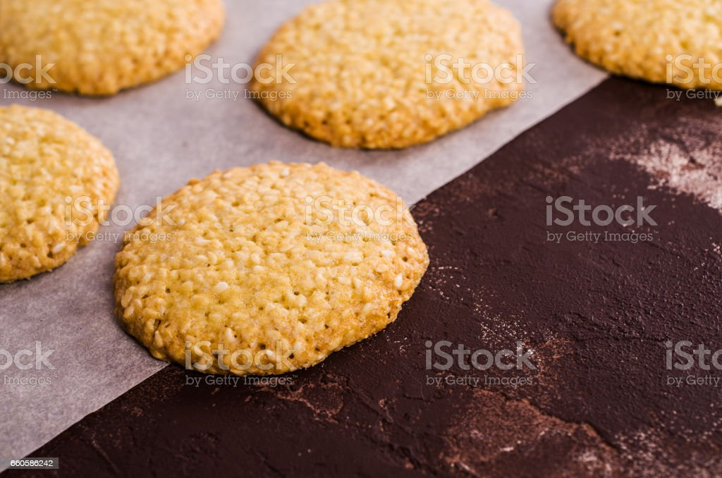Cookie with sesame seeds. royalty-free stock photo