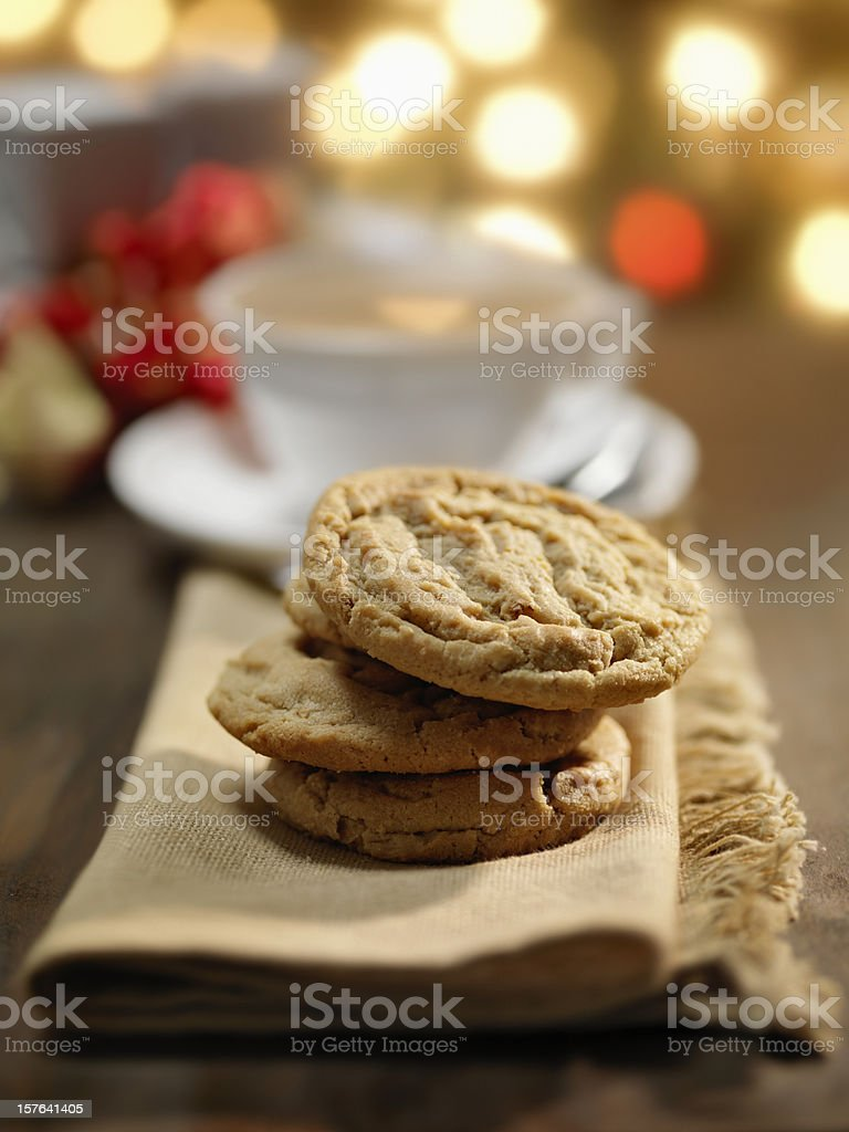 Cookies and a Cup of Tea at Christmas Time royalty-free stock photo