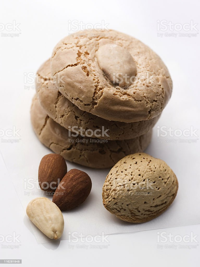 Cookies and almonds stock photo