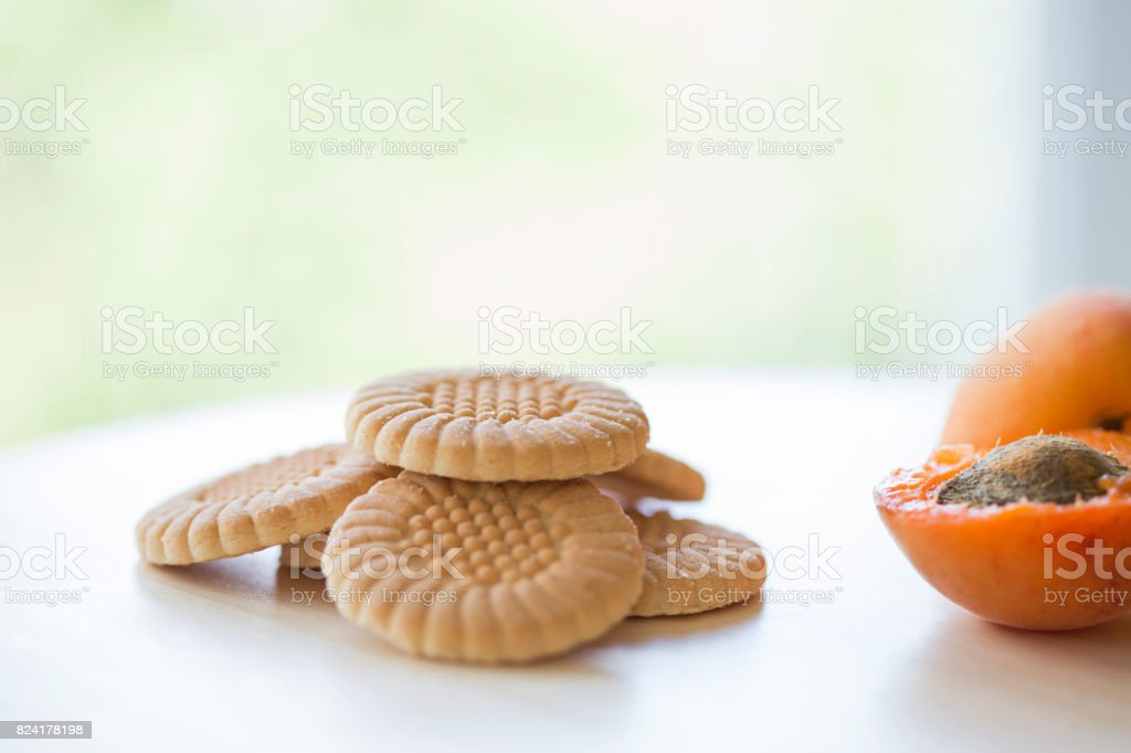 Cookies and apricot stock photo