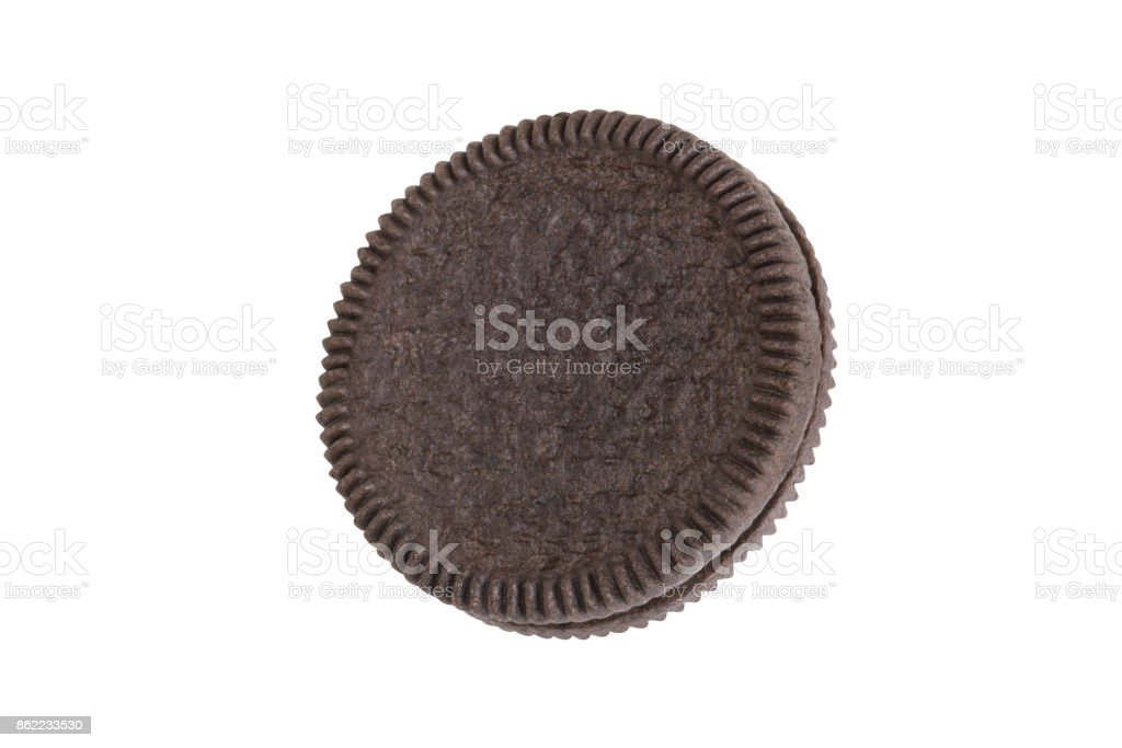 Cookies and cream close-up shot of crust side (no trademark or brand) isolated on white background (Clipping path included) stock photo