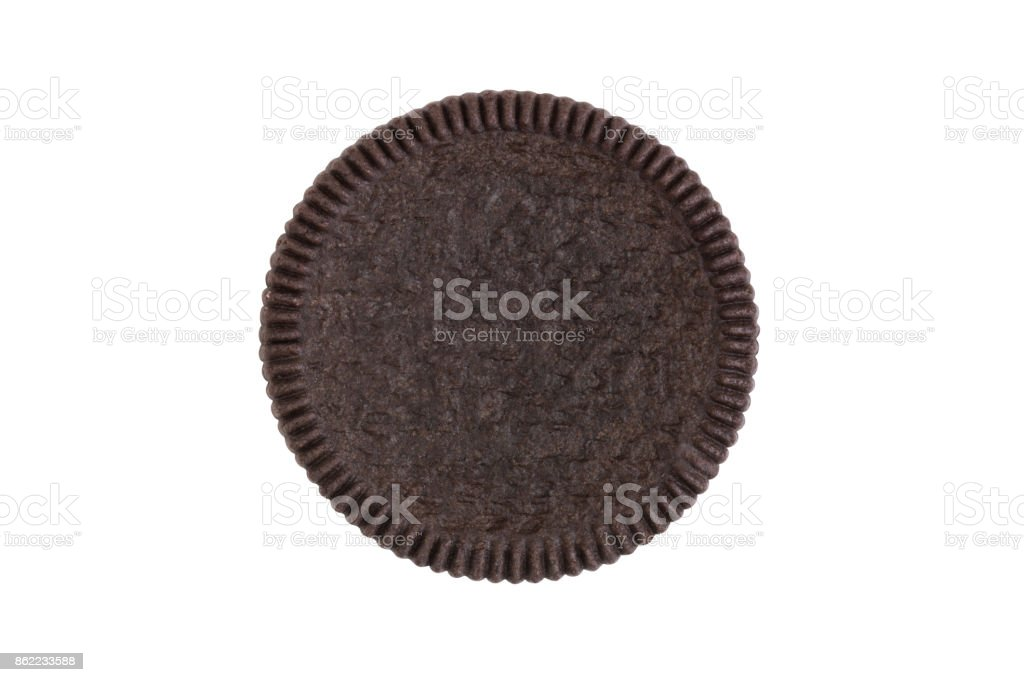 Cookies and cream close-up shot of front crust side (no trademark or brand) isolated on white background (Clipping path included) stock photo