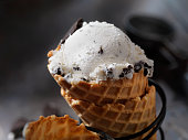 Cookies and Cream Ice Cream in a Waffle Cone