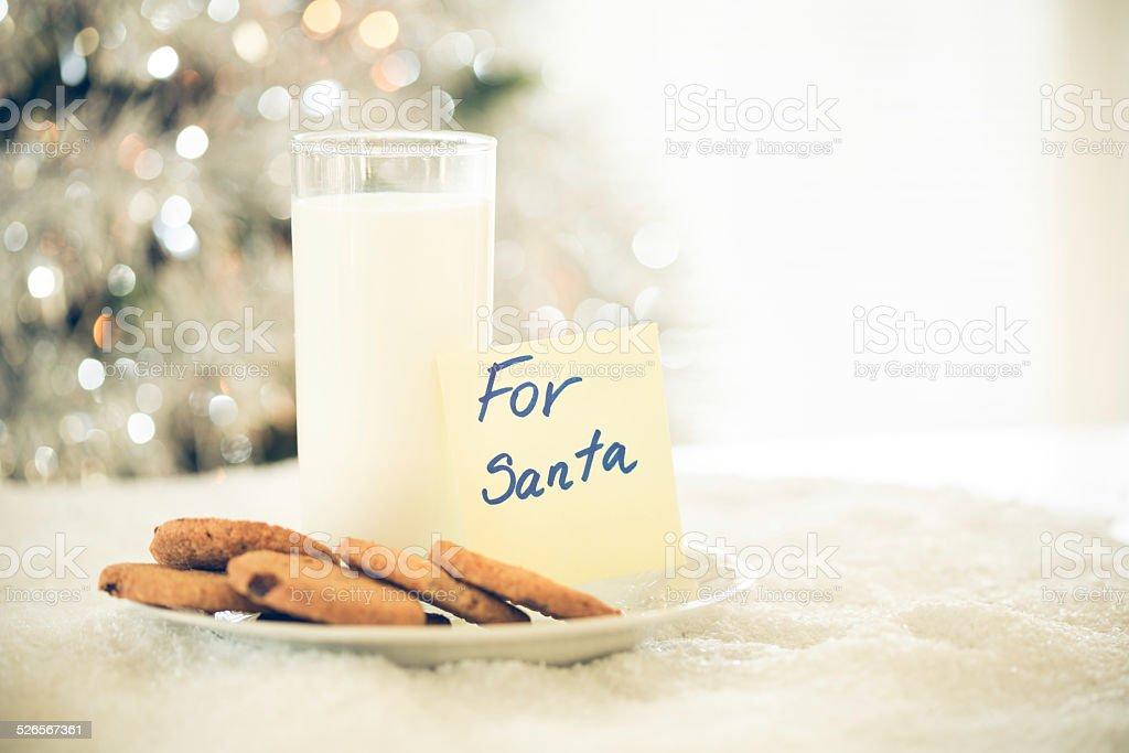 쿠키와 우유 산따 클라우스 대한 스톡 사진