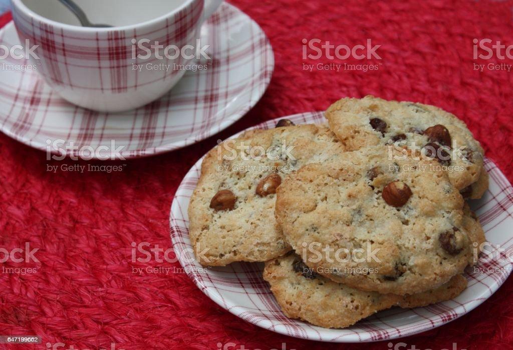Cookies aux noisettes - Heure du Thé stock photo