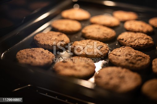 Chocolate chip cookies baking in the oven.