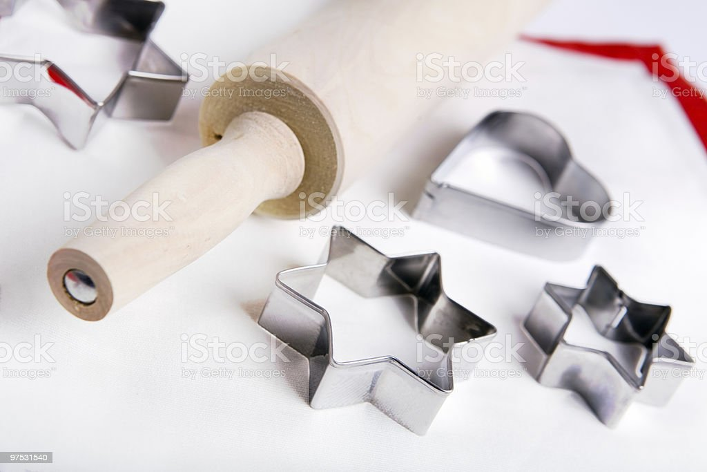 Cookies cutters and Rolling Pin royalty-free stock photo