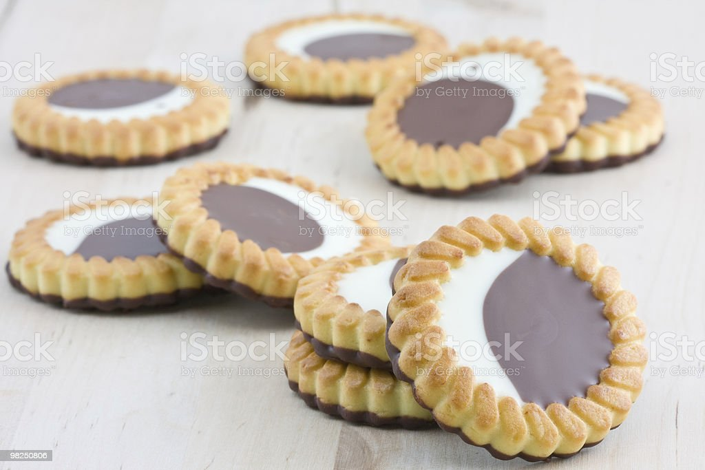 Cookies filled with chocolate royalty-free stock photo
