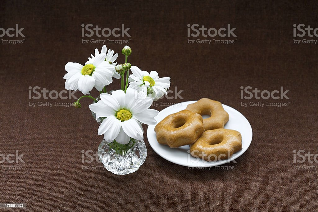 cookies in plate on a background of burlap royalty-free stock photo