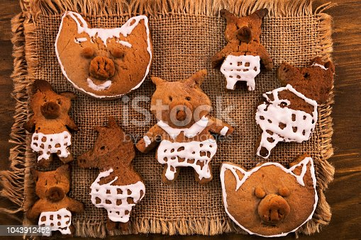 Cookies in the form of pigs, made to decorate the Christmas table.